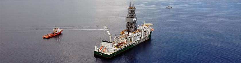 An oil drill ship for explorative offshore mining.