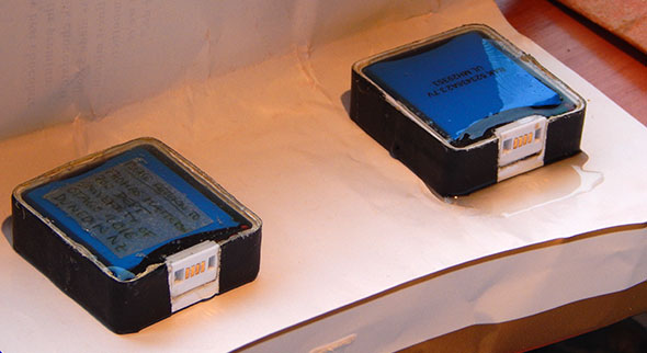 Two of the three GPS loggers cast in epoxy resin