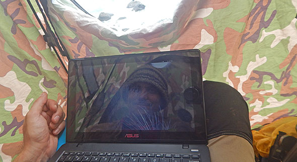 I couldn't resists the temptation of taking a selfie while working on our trail cam data in the hide tent
