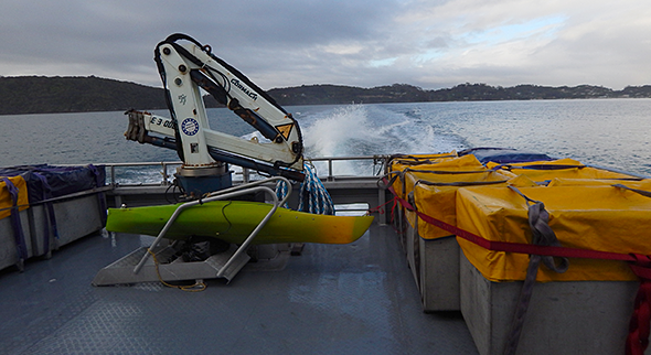 Leaving Stewart Island (Note six of the seven bins loaded with film gear on the right)