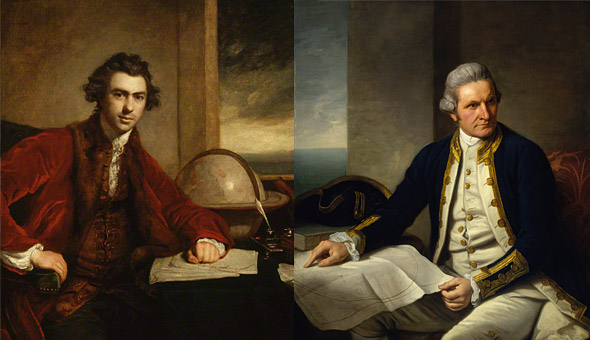 Joseph Banks and Captain James Cook - not on the friendliest of terms with each other