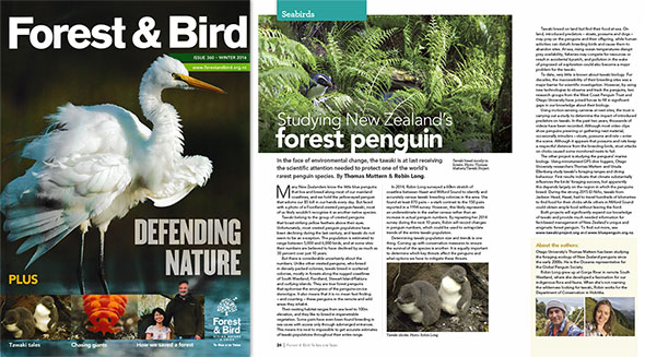 The Tawaki Project in the Winter 2016 edition of Forest & Bird Magazine