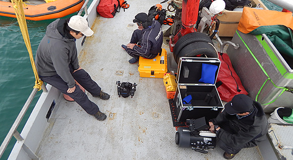 Prepping sinfully expensive underwater filming gear in the sheltered waters of Bungaree Bay