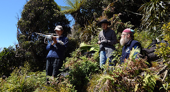 Ida-san, Sam & Paul on the Hilltop clearing for the drone practice runs