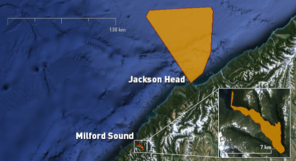 Foraging ranges of tawaki from Jackson Head and Milford Sound.