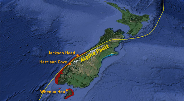 Tawaki breeding range (red), Alpine Fault and our three study sites. Maybe we should be worried too?