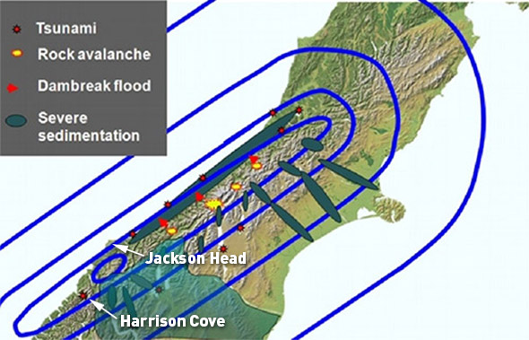 """Predicted isoseismals &amp; consequences for the next Alpine Fault rupture (source: <a href=""""example.com"""">http://bit.ly/1DZWvK1</a>)."""